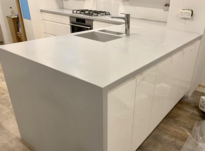 Corian Worktops in Silver Grey with matching sinks